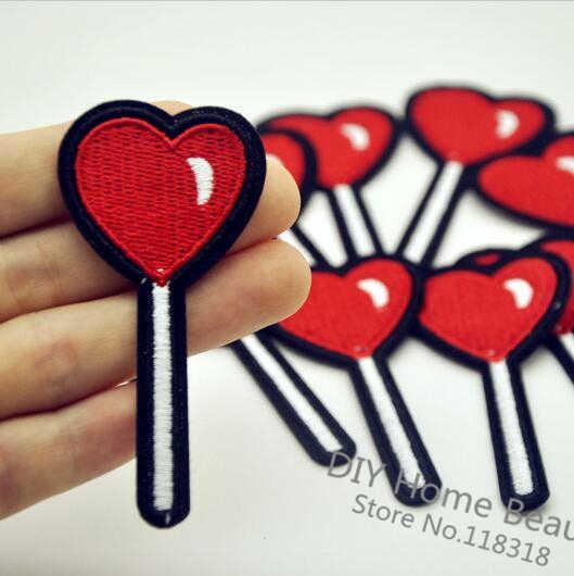 3 adet aşk lolipop giysi işlemeli demir on yamalar giyim için DIY çizgili Motif aplikler parches bordados 7*3.5 CM @ I4
