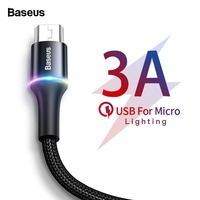Baseus LED Lighting Micro USB Cable 3A Fast Charging Charger Microusb Cable For Samsung Xiaomi Android Mobile Phone Wire Cord 2m