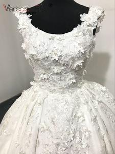 Image 3 - VARBOO_ELSA 2018 Luxury White Lace 3D Appliques Wedding Dresses Custom Bridal Wedding Gown Pearls Wedding Dress vestido de noiva
