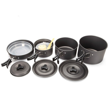 Camping aluminum pan portable casserole outdoor soup pot bowl rice spoon frying sports cooking pots and pans set Picnic