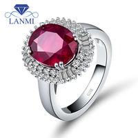 Nonle Oval 9X11mm Natural Diamond Ruby Engagement Rings In 18Kt White Gold SR0002
