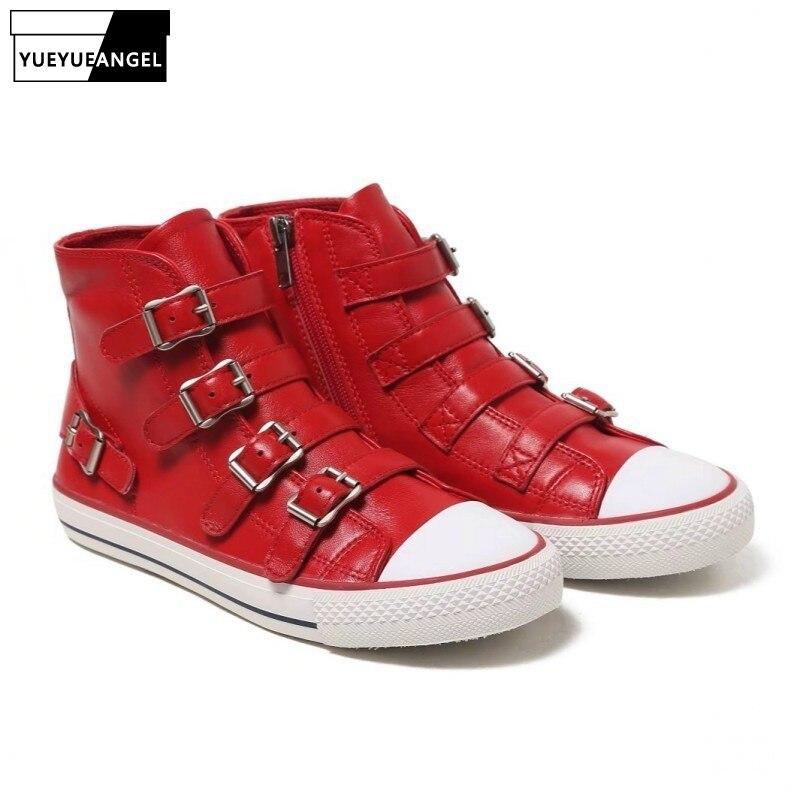 Européen À En Plat Black High Véritable red Chaussures Cuir Style Top Mouton Femmes Hip Peau New Punk 2018 De Glissière white Formateurs Casual Hop Sneakers blackwhite Fermeture zRqZ47