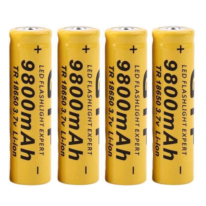 4Pcs 3.7V 18650 9800mah Li-ion Rechargeable Battery For LED Flashlight Torch For Emergency lighting portable Device Free Ship 12v 1800mah rechargeable portable emergency power li ion battery for cctv devices