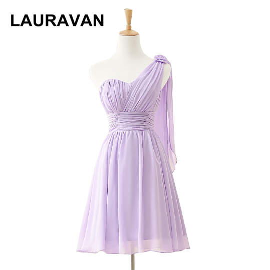 special occasion formal short one shoulder cheap modest light purple lilac   bridesmaid     dress   gown   dresses   2019 new arrival