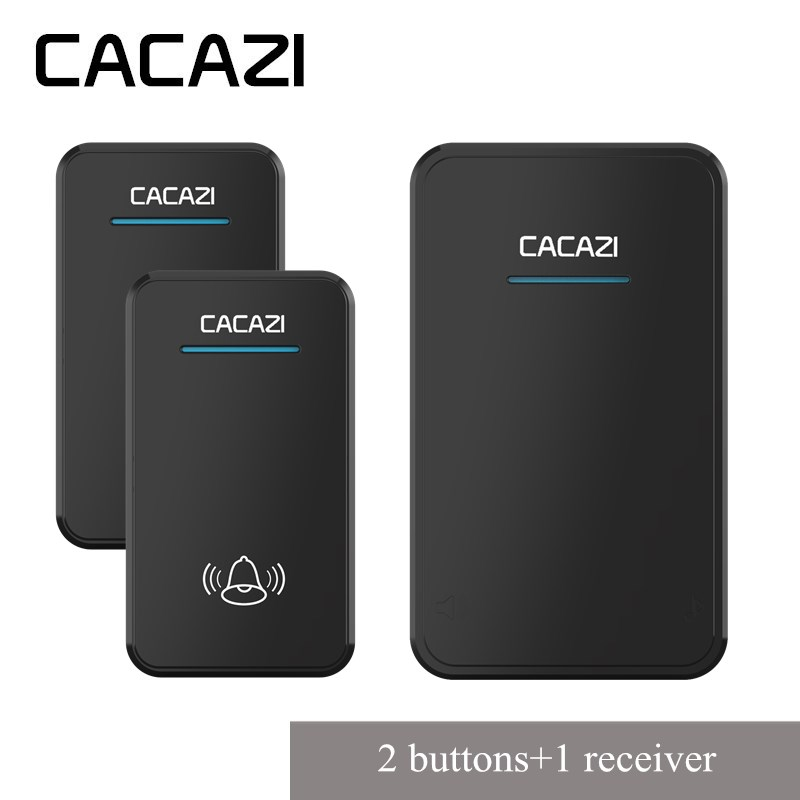 CACAZI New Wireless Doorbell 300M Remote smart Door Bell Chime battery 2 Waterproof buttons 1 EU plug receiver with 48 ringtones