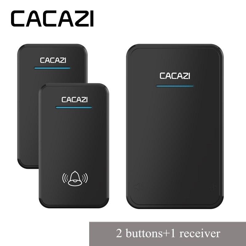 CACAZI Sans Fil Étanche Sonnette 300 m À Distance Batterie Bouton LED Accueil Sans Fil Cloche UE Plug Récepteur 48 Carillons 6 volume