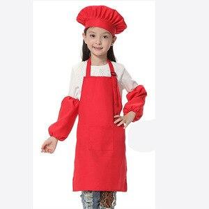 Image 2 - 子供エプロン子供たちは帽子ポケット幼稚園キッチンベーキング塗装調理ドリンク食品ランファン tablier delantal ロゴプリント