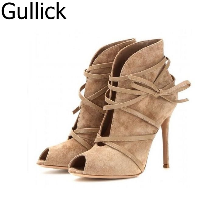 Spring Autum Hottest Women Lace Up Fashion Short Boots Suede Pink Peep Toe Ankle Booties Stiletto High Heels Pumps Shoes women fashion lace up cut out ankle boots sexy high heels black party shoes open toe short booties stiletto pumps zg938 73