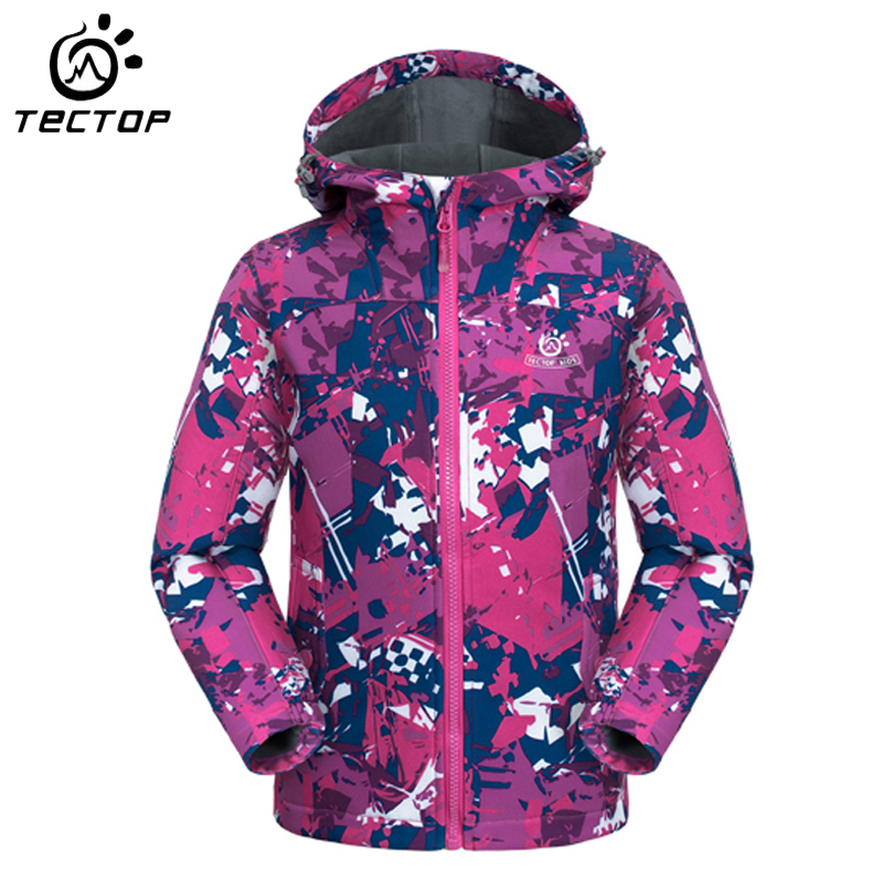ФОТО Winter Jacket Kids Hiking Boys Girls Outdoor Jackets Windproof Waterproof Children Sport Coat Softshell Jacket