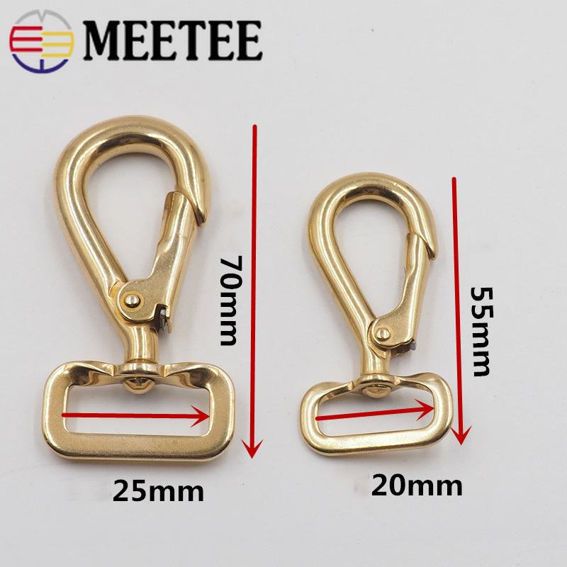 2Pcs 20 25MM Solid Brass Metal Bag Buckle Keychain Dog Collar Clasp Bag Strap Belt Snap Hook Hardware DIY Leather Crafts AP488 in Buckles Hooks from Home Garden