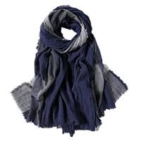 Japanese Style Navy Bufandas Mens Scarves Fashion Plaid Brand Scarf Spring Autumn Warm Soft Shawls Cotton Tassel Scarf