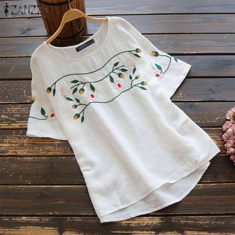 ZANZEA Women's   Blouse   Ladies Summer Tops Casual Cotton Tunic Embroidered   Shirts   Female Vintage Blusas Plus Size Chemiser Mujer