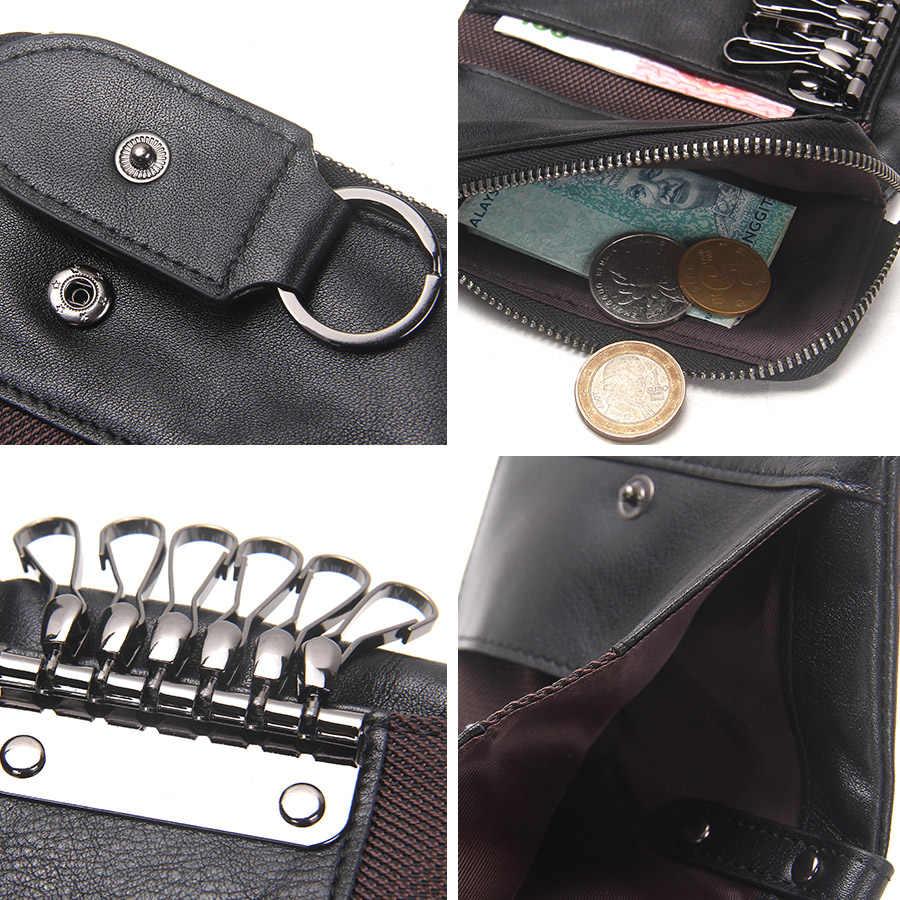 CONTACT'S Кожаная высококачественная  сумочка для хранения ключей  и денег домработница в винтажном стиле 2019