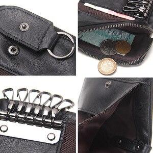 Image 5 - İletİşİm hakiki deri erkek anahtar cüzdan küçük erkek çanta ile sikke cep anahtarlık adam çantası kahya yüksek kaliteli anahtarlık