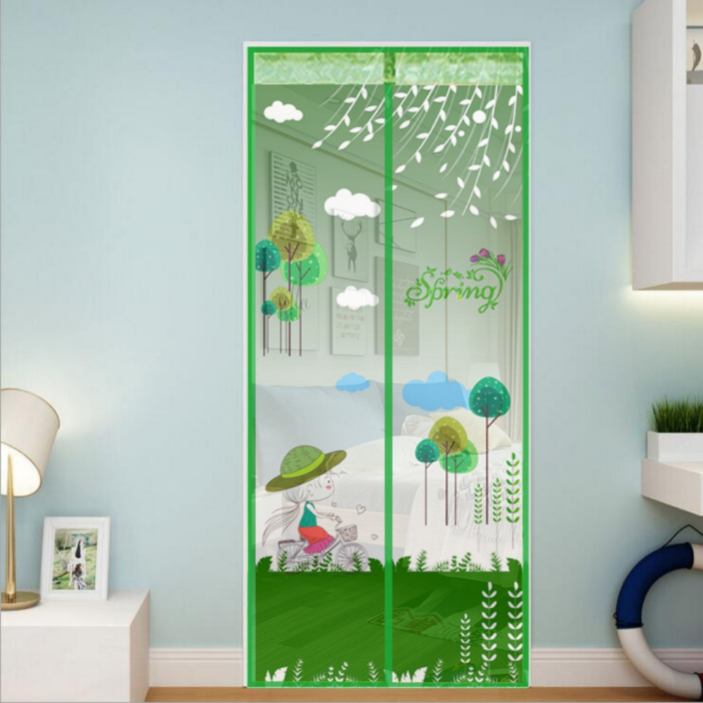 Anti Mosquito Magnetic Screen Door Cartoon Pattern Printed Magnetic Strips Automatically Shut Mesh Curtain 5 Colors