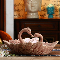 Abstract Porcelain Kissing Swan Couple Figurine Fruits Plate Decor Ceramics Lovers Sreving Tray Dinnerware Craft Gift Ornament