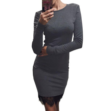 2016Lace Patchwork Women Autumn Winter Dress O Neck Casual Bodycon Party Dresses With Tassel Long Sleeve Ukraine Plus Size Dress
