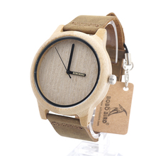 BOBO BIRD A22 Simple Casual Bamboo Wooden Analog Wristwatch With Genuine leather Band In Gift Box