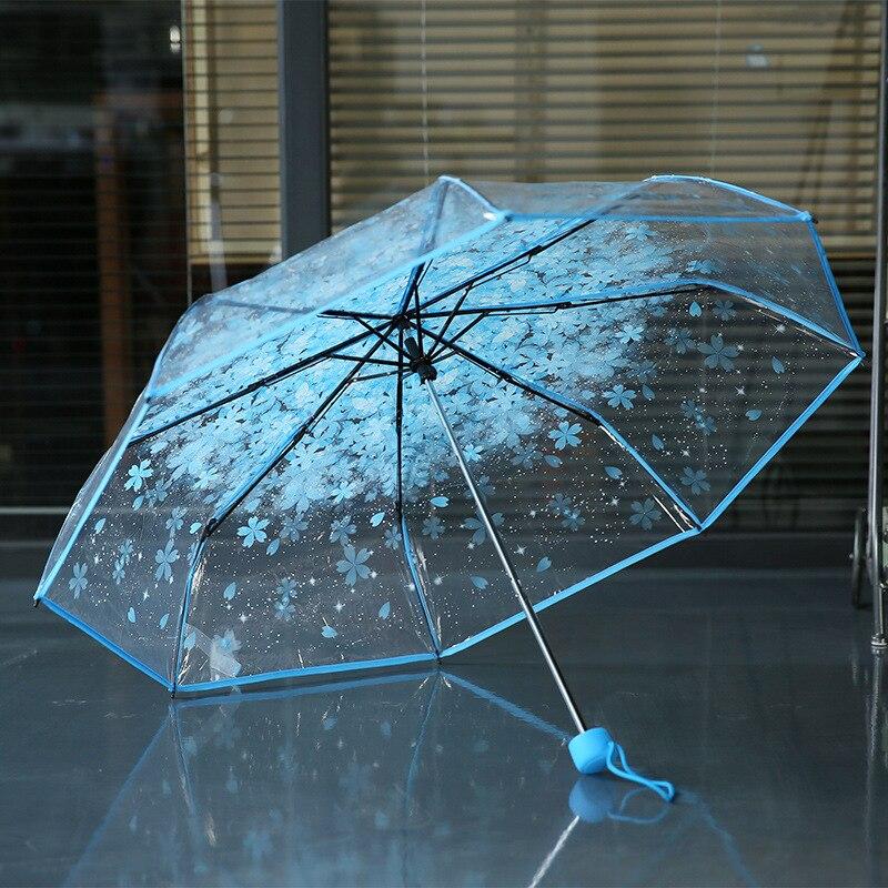 2016 fashion women sakura transparent plastic rain umbrella ladies