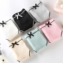 Fresh and elegant girl wind thread cotton bow solid color waist women's underwear free shipping