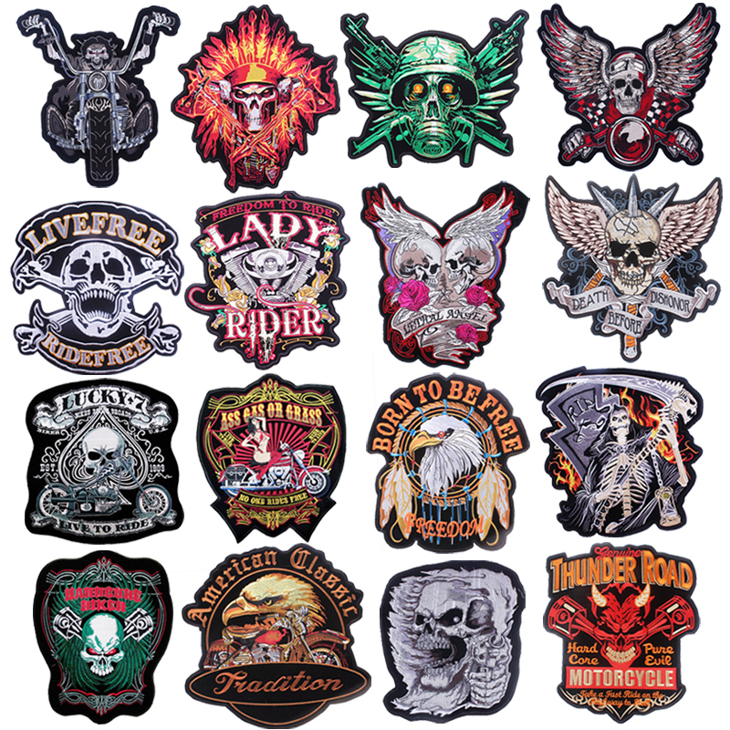 Pulaqi Stripes On Clothes Punk Motorcycle Stickers Fashion Patches Icons For Anarchy Diy Stalker Skull Patch F