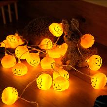 مجموعة واحدة جديدة من أضواء الهالوين المزودة بمصابيح ليد على شكل يقطين 10 مصابيح جديدة لعام 2019 أكسسوارات ديكورات منزلية للهالوين بيضاء دافئة