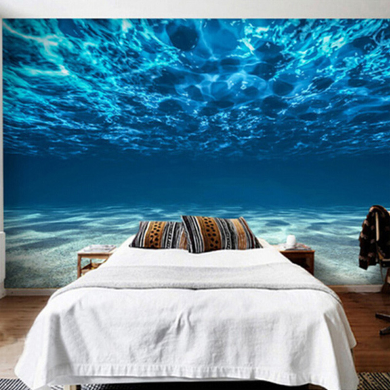 Photo wallpaper 3d stereo blue seawater mural dining room for Papel de pared paisajes