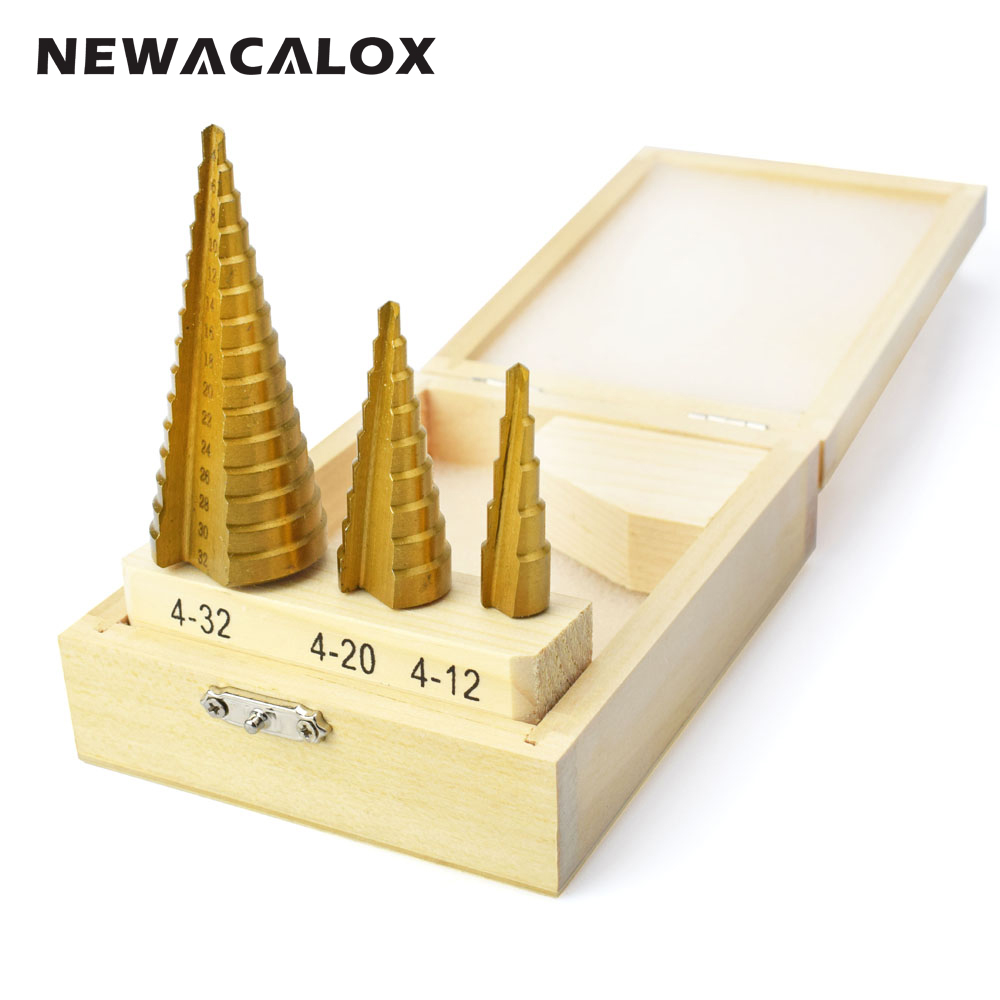 цена на NEWACALOX Large Step Cone HSS Steel Spiral Grooved Step Drill Bit Hole Cutter Cut Tool 4-12/20/32mm with Wood Box 3pcs/Set