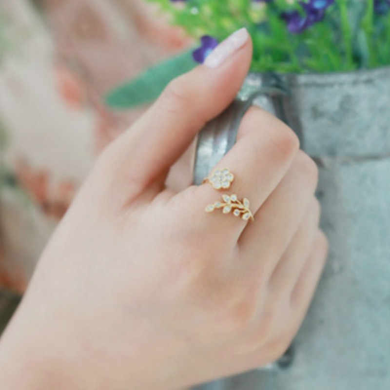 Temperament Rhinestones Twisted Leaves Wishful Flowers Open Ring Index Finger Ring Female Rings