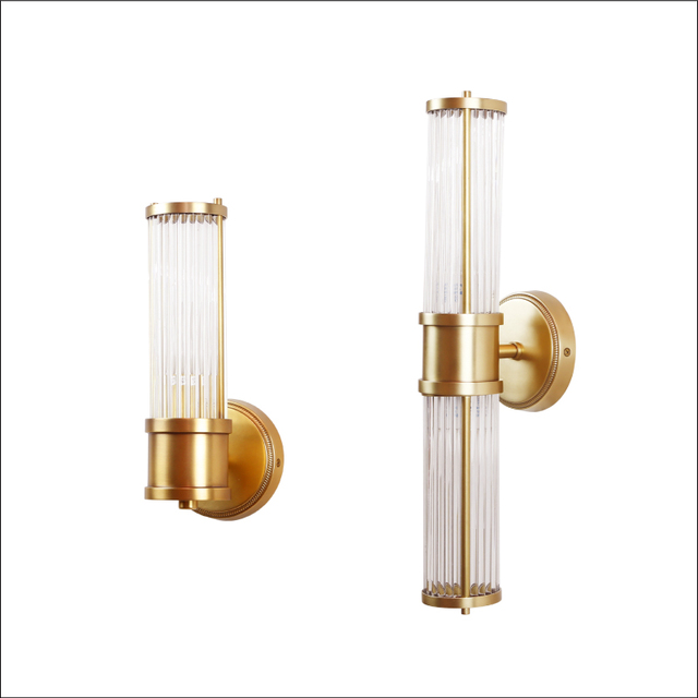 Wall Lamps Led Bathroom Light Copper Finish Glass Lampshade ...