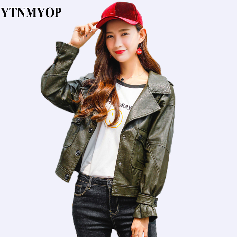 YTNMYOP Autumn Sweet Army Green Women   Leather   Coat High Street Fashion   Leather   Clothing Outerwear Loose Jackets Tops