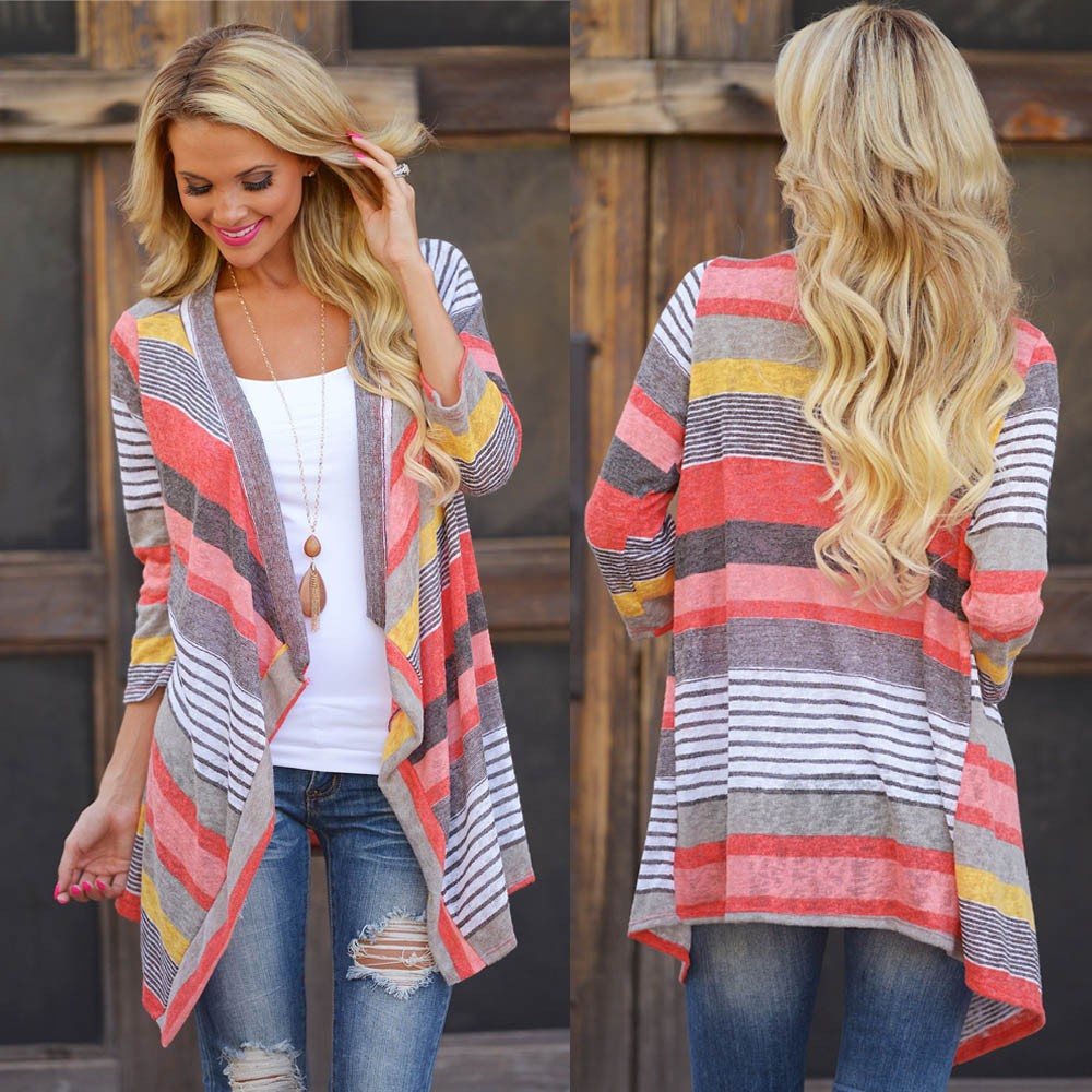 2019 Hot Sale Women Kimono Cardigan Tops Female Vestidos Irregular Stripe Shawl Vintage Long Sleeve Cover Up Blouse Plus Size