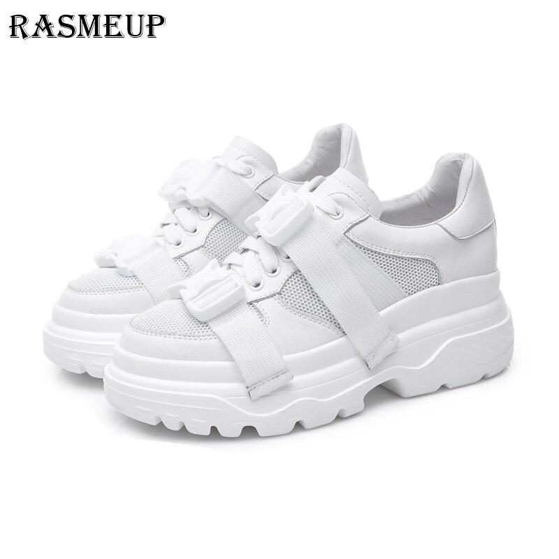 RASMEUP Couro Genuíno + Malha Pai da Plataforma das Mulheres Das Sapatilhas 2018 Moda Fivela Mulheres Planas Sapatos de Caminhada Mulher Calçados Casuais