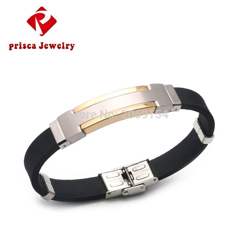 Men Rubber Bracelet Charm Bangle Fashion Male Jewelry 2017 Titanium Alloy Bracelet Stainless Steel Wristband Silver