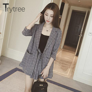 Image 2 - Trytree Spring summer Women two piece set Casual tops + shorts plus size plaid Top Female Office Suit Set Womens 2 Piece Set