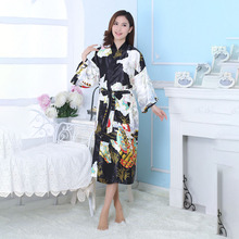 Unique Bride Wedding Robe Peacock Satin Rayon Bathrobe Nightgown Slim