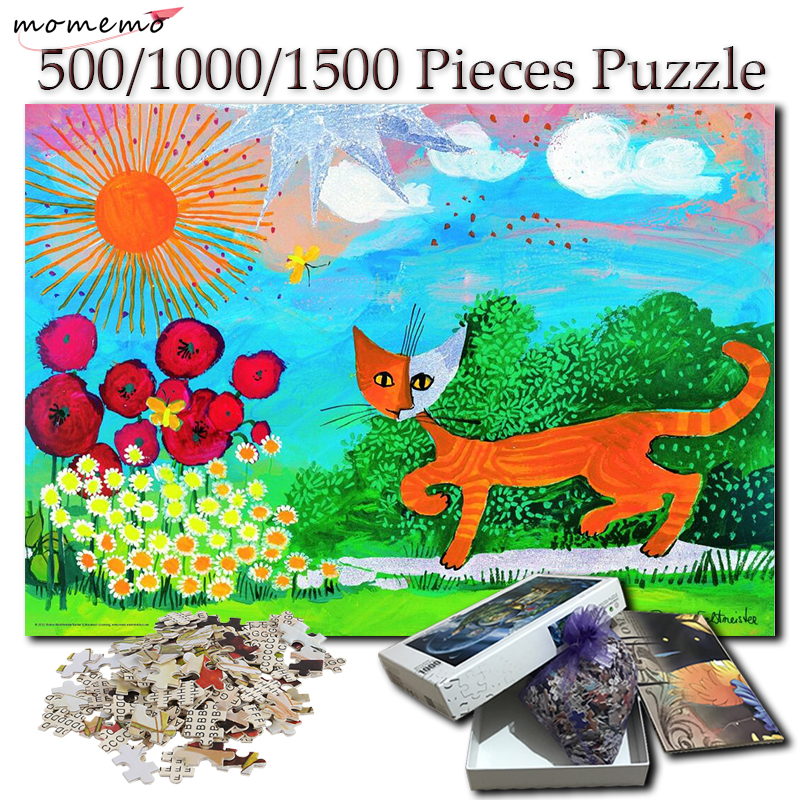 MOMEMO Cat Painting 500 1000 1500 Pieces Puzzle 1000 Pieces for Adults Wooden Hand Painted Jigsaw Puzzles Games Toys Home Decor in Puzzles from Toys Hobbies