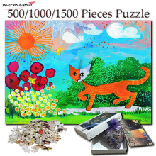MOMEMO Cat Painting 500 1000 1500 Pieces Puzzle for Adults Wooden Hand Painted Jigsaw Puzzles Games Toys Home Decor