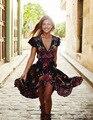2017 Лето Boho Dress Этнических Сексуальная Печати Ретро Старинные Dress Кисточкой Пляж Dress Bohemian Hippie Dress Халат Vestidos Mujer