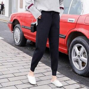 Image 2 - ミッドウエストニットハーレムパンツ女性ズボン巾着スキニーパンツポケットニットストライプスウェットパンツパンタロン 2019