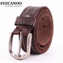 Фотография FEECANOO Pure natural cowhide belts men high quality genuine leather belt man fashion strap male cow leather belts for men jeans