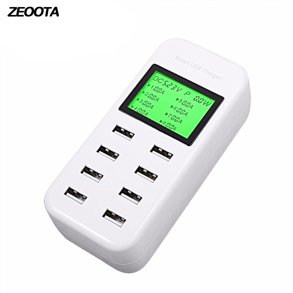 Smart USB Charger HUB 8A Travel Charger with LCD Display 8 USB 40W Wall AC Power Phone Mobile Charger for Iphone Andriod Phone