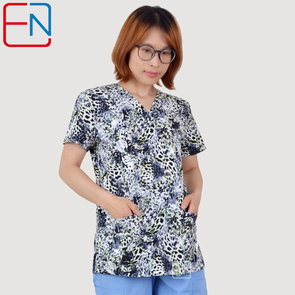 Brand Medical Scrub Tops For Women S 100% Print Cotton Stretchy Fabric  Broken Sizes