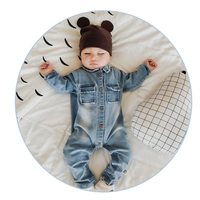 2017ソフトデニムベビーロンパース落書き幼児服新生児ジャンプスーツ赤ちゃん男の子女の子衣装カウボーイファッションジーンズ子