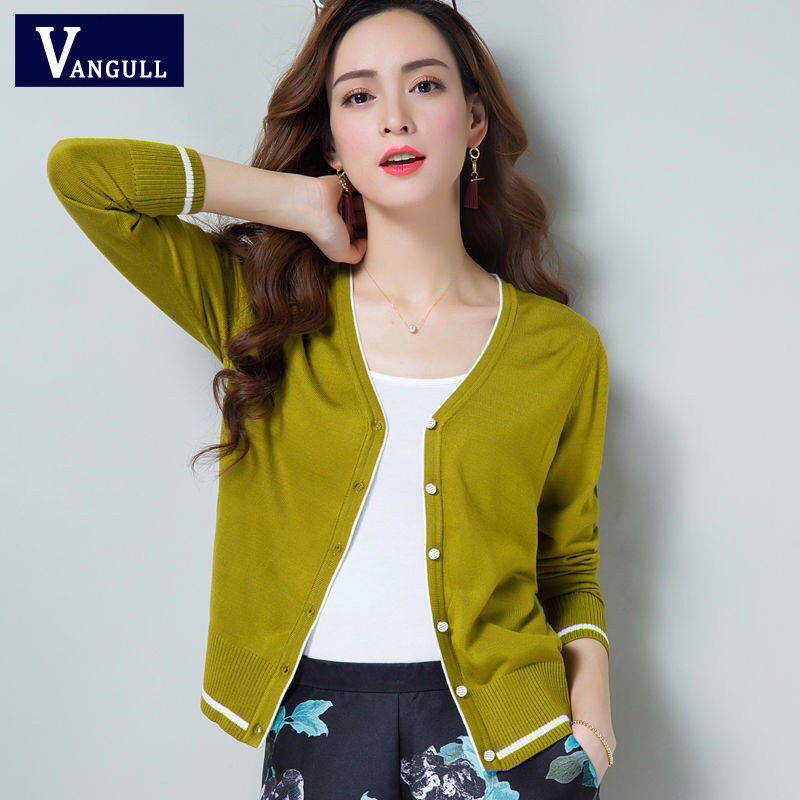 Vangull Women Air-conditioning Shirt Elegant Thin Sweater Short Paragraph Cardigan Sunscreen Jacket Color Block Female Sweaters
