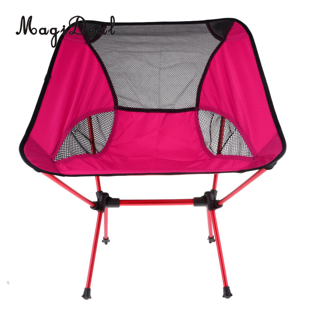 MagiDeal Ultralight Foldable Camping Chair Outdoor BBQ Fishing Seat Lounger Rosered