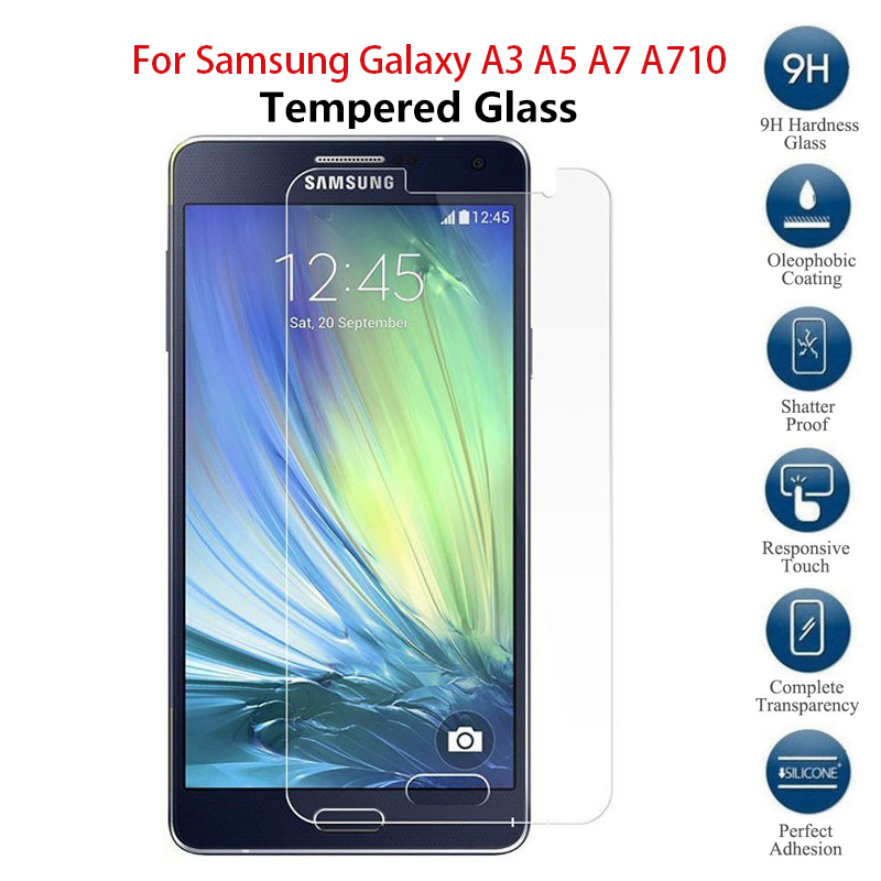 Tempered Glass For <font><b>Samsung</b></font> Galaxy <font><b>A3</b></font> A5 A7 A710F <font><b>Screen</b></font> <font><b>Protector</b></font> Safety Protective Film A300F A500F A700F A700 2015 image