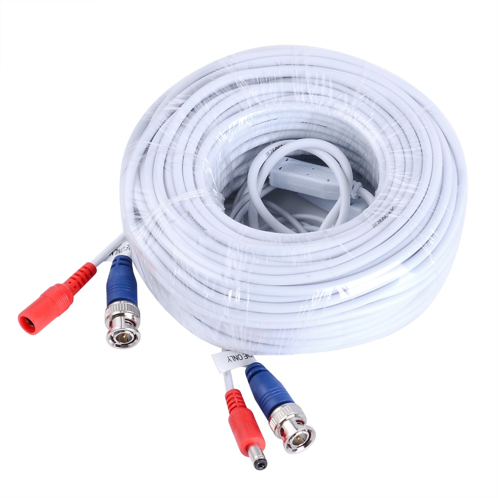 ANNKE 100FT 30M Video Power CCTV Security Camera BNC RCA power Cable BNC RCA Extension Cable (White & Black) bnc m rca p каркам