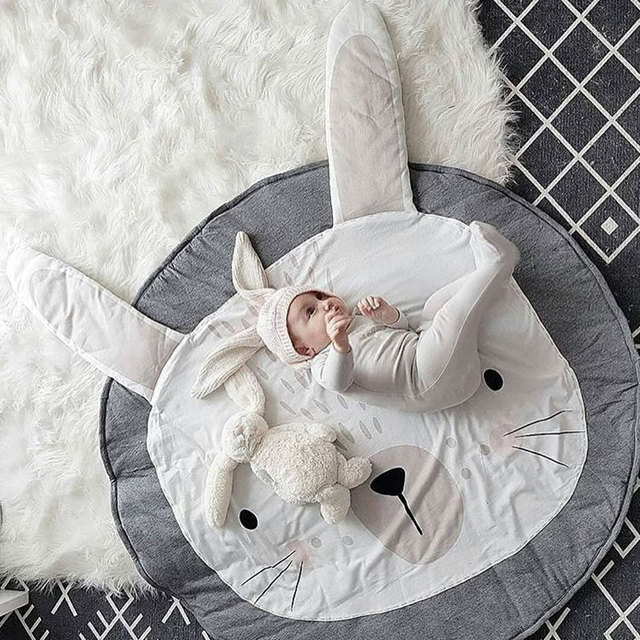 Actionclub 90cm Round Rabbit Baby Playmat Nursery Rug Crawling Mat Tee Floor Mats Soft Play Rugs