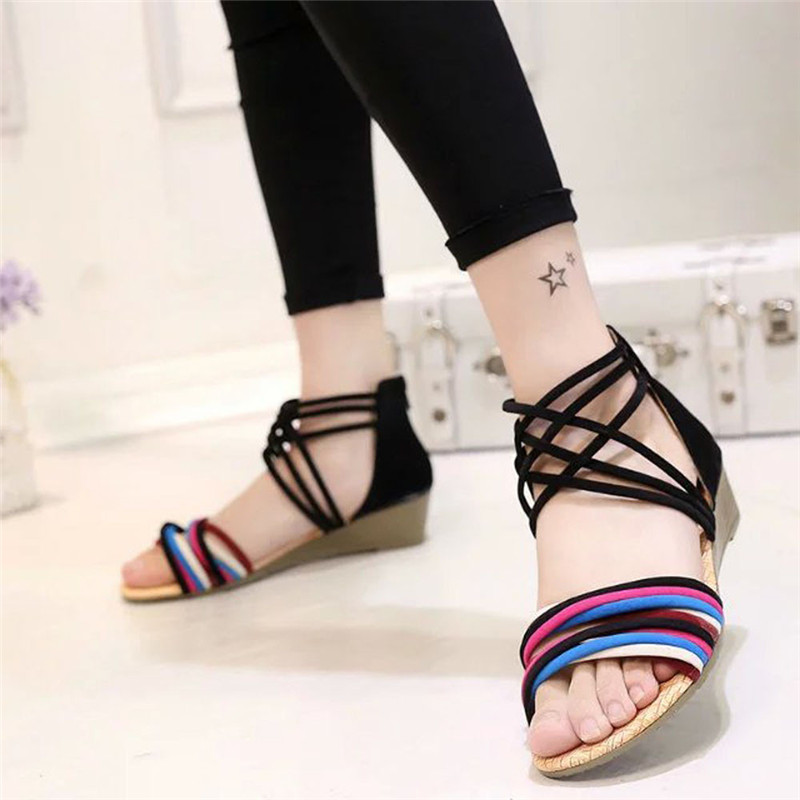 31c1767c8 Fashion Style Women Summer Bohemia Slippers Flip Flops Wedges Flat Sandals  Ladies Casual Beach Thong Shoes for Women Plus Size